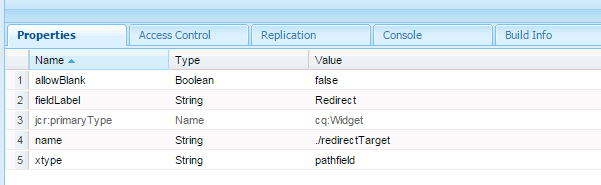 redirect node page property in aem