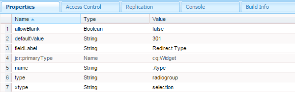 redirect type node page property in aem