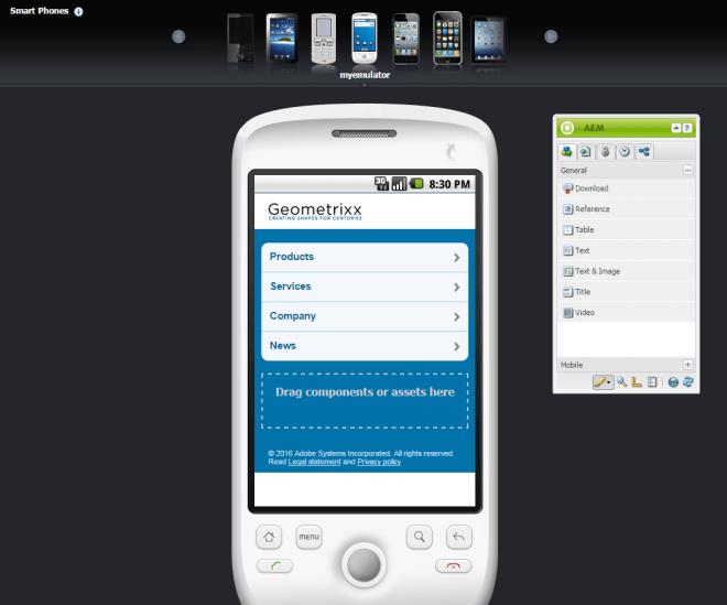 custom aem mobile emulator in classic ui
