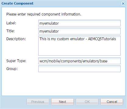 custom mobile emulator component aem6