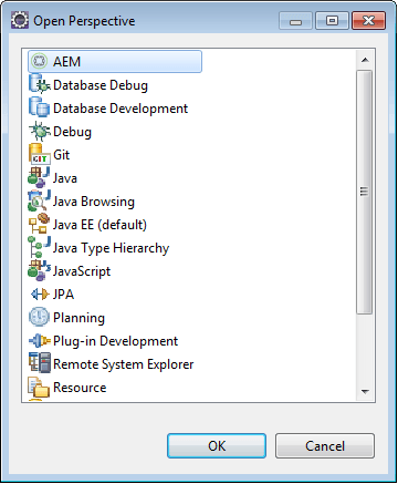 add aem perspective in eclipse