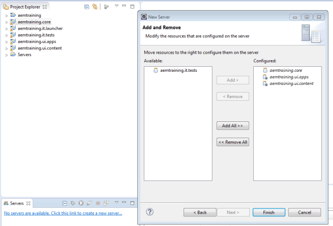 add or remove aem server modules in eclipse