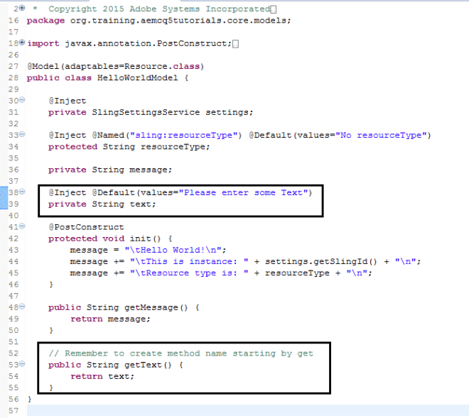 add inject annotation in sling model