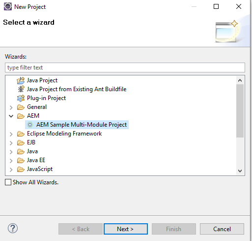 create new aem multi-module project eclipse