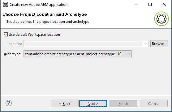 select project location and archtype