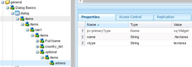 add dialogfieldset xtype aem component