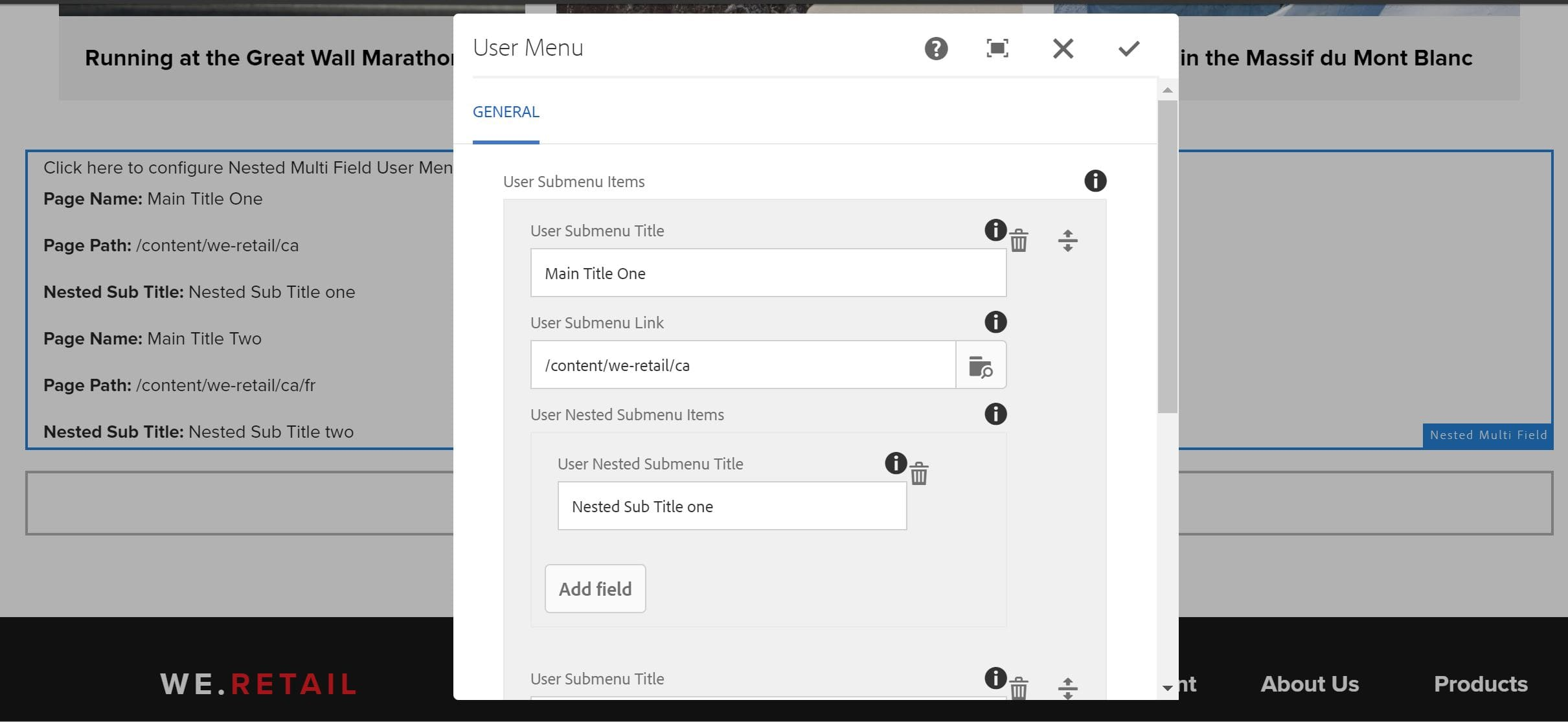Create Touch UI Nested MultiField Dialog in AEM | AEM CQ5