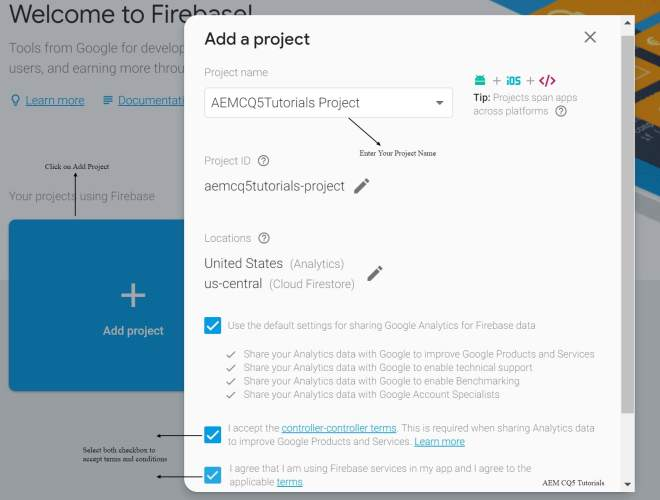 create pwa app firebase console