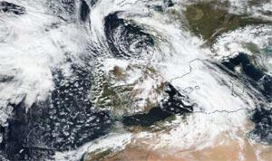 Imagen MODIS de la borrasca 'Hugo'