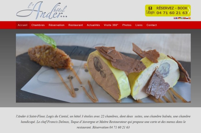 Réalisation de site internet , Hôtel l'Ander Saint-Flour