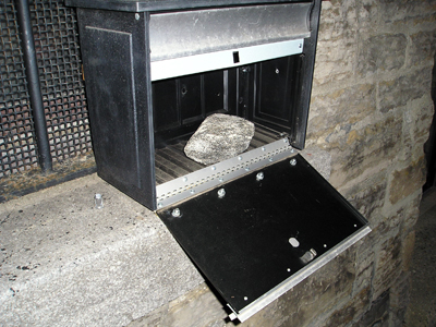 Rock in mail box