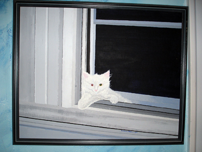 Painting (by Cathi) of Cathi's cat,