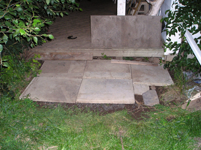 Patio blocks near back porch