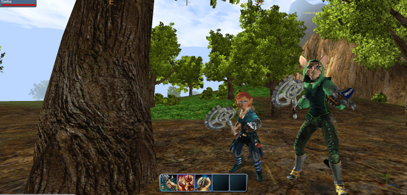 Two Builder Avatars, one that Tolkien would have called a 'Hobbit' and the other one a Fox-Person woman.