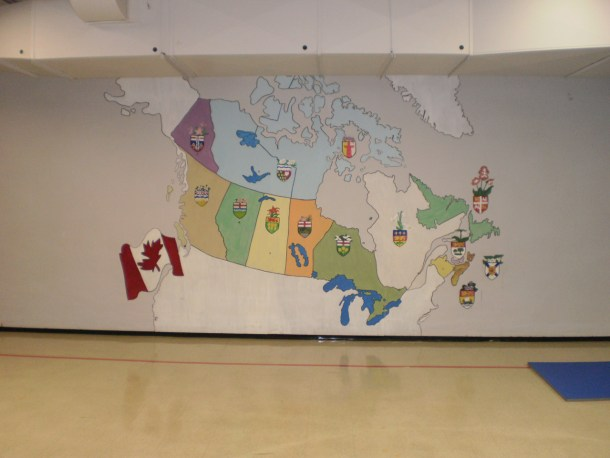 Map Of Canada painted on a gymnasium wall.