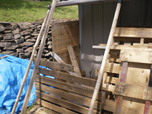 Wood shed under reconstruction.