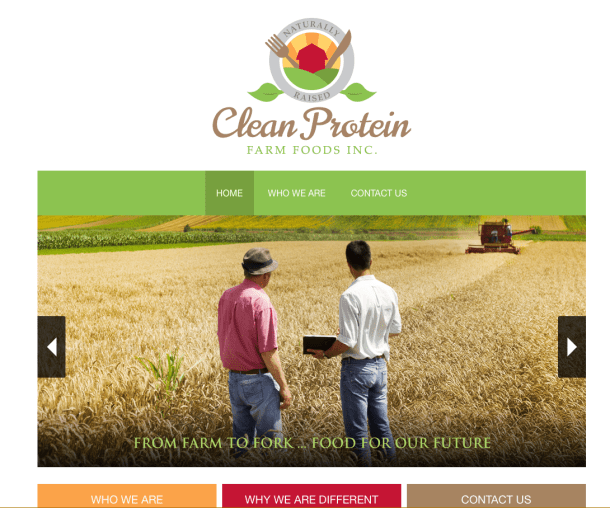 cleanproteinfarmfoods.ca website screen shot