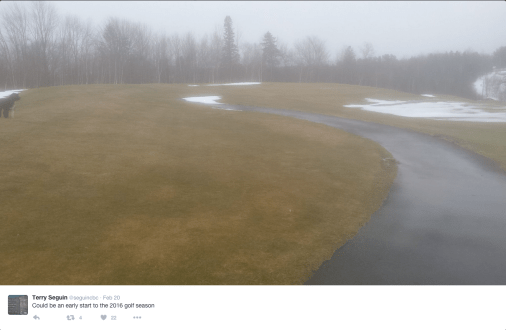 Foggy Golf Course with no snow on the grass on February 20th of this year.