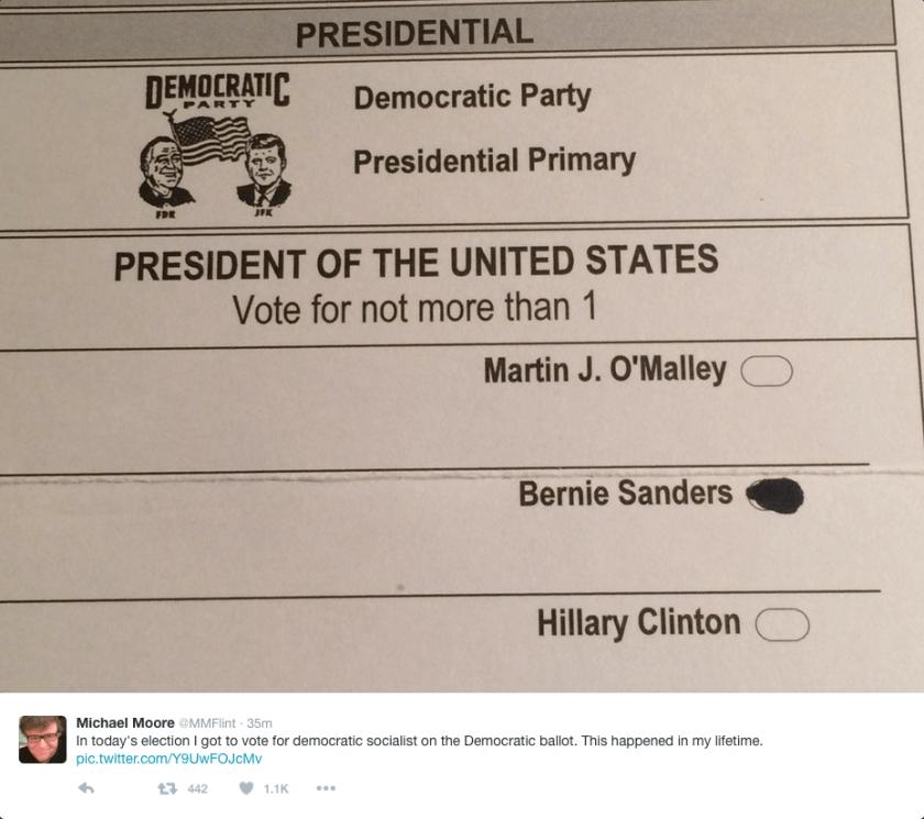 Michael Moore's ballot - he voted for Bernie Sanders.