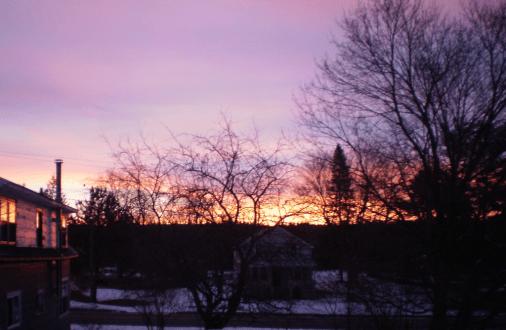 Colourful sky minutes before sunrise.