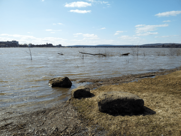 St John River at Fredericton in a minor flood stage, April 13, 2016.