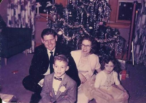 Dad, Me, Mom, Sharon -Christmas Tree.