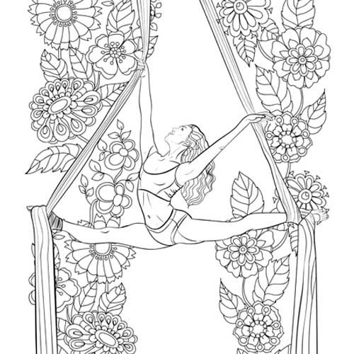 Aerial Silks Coloring Book ready for your artistic touch