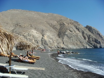 Black Sand Beach in Perissa, Santorini