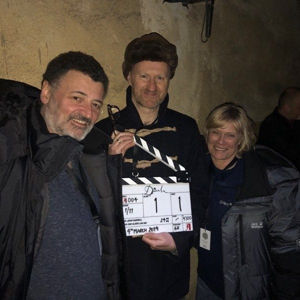 Image of Steven Moffat (left) and Mark Gatiss on the set of Dracula. Credit: STEVEN MOFFAT/INSTAGRAM.