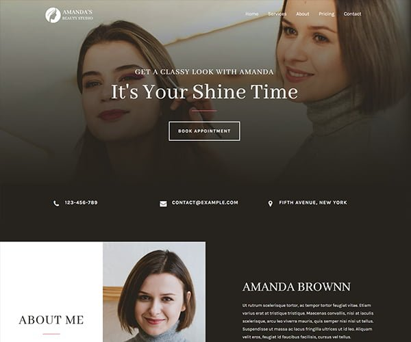 lead generation and online business website development brown theme design template for beauty salon by ABS web development company in Bangalore India