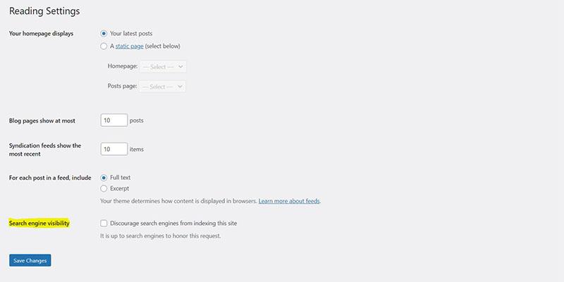 wordpress search indexing settings from admin dashboard screenshot