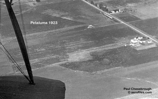 aerial photo of Petaluma's first airport, on aerofiles.com