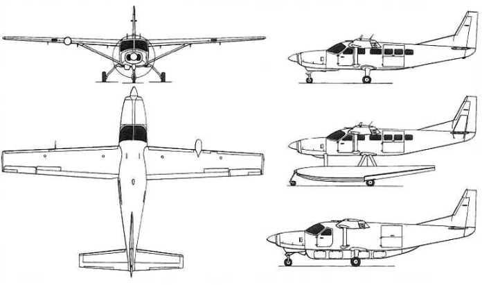 Asa trapezoidal de um Cessna Caravan