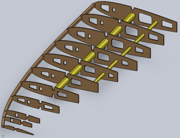 Montagem computacional de uma asa elíptica pequena.