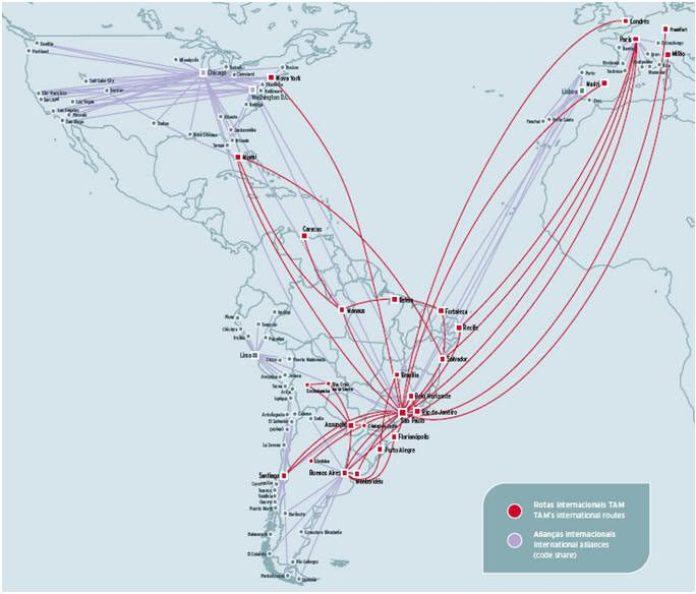 Mapa de rotas da Tam.