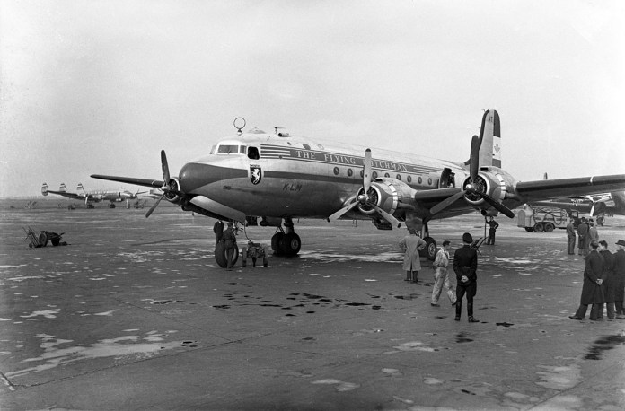 DC-4 que fazia os voos da KLM para a América do Sul