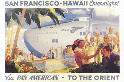 Propaganda de voo entre EUA e o Havaí.
