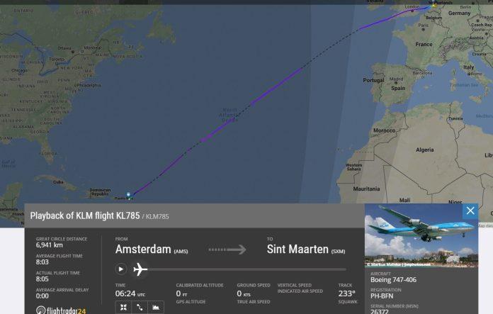 Rota realizada pelo 747-400 da KLM.