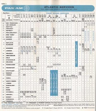 Lista de horários dos voos em 1957. Foto - JPB Transportation/Reprodução