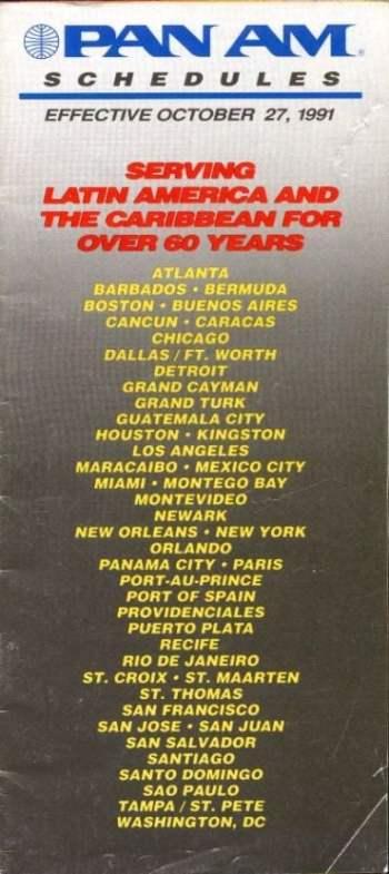 Destinos onde a Pan Am operava ainda 1991.