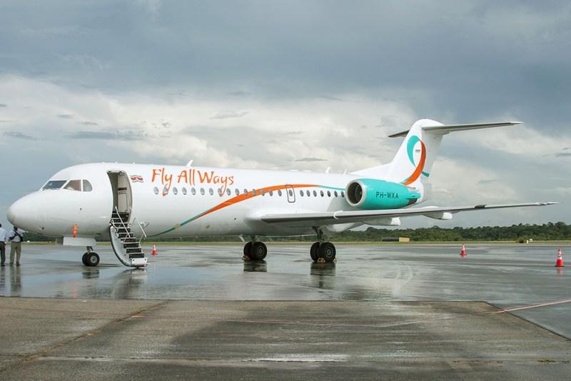 Fly_All_Ways_Fokker_F70_at_Paramaribo_Airport