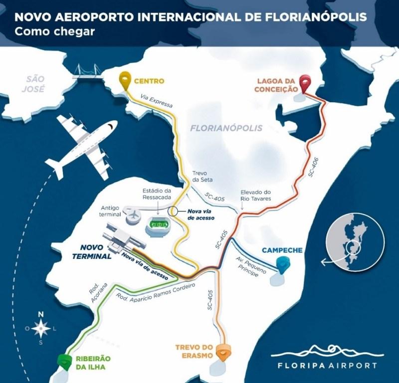 Acesso novo terminal aeroporto Flrianópolis 2019