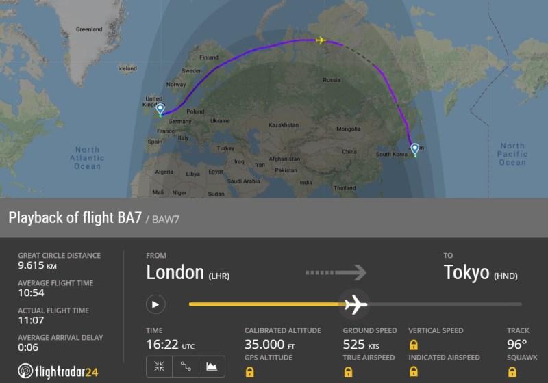 FlightRadar24 Voo British Airways BA7