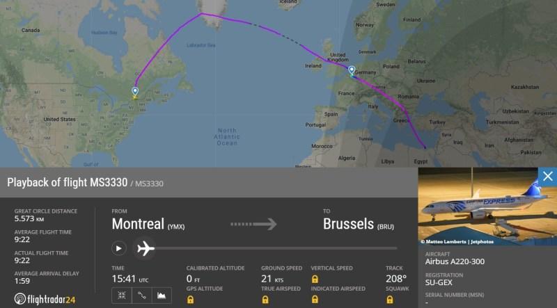 FlightRadar24 Entrega A220 EgyptAir