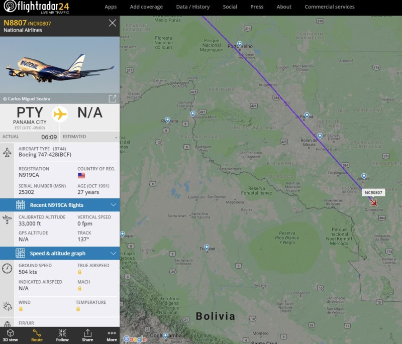 Boeing 747 da National no Flight Radar24