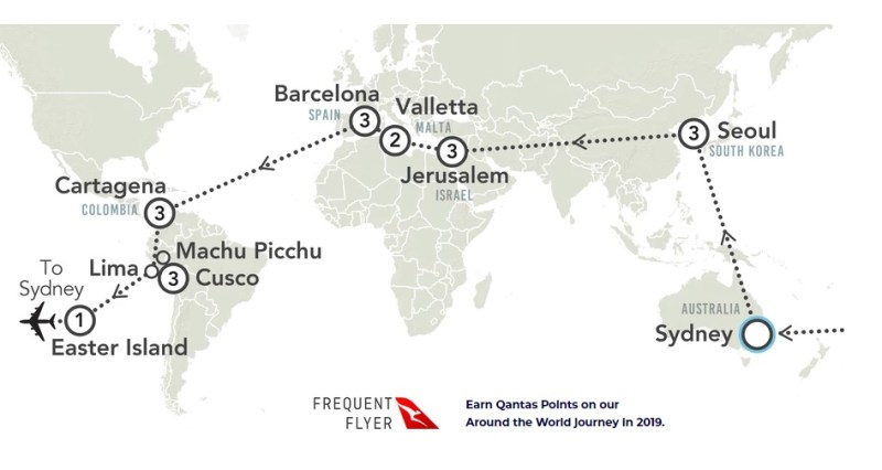 Mapa Vota ao Mundo Qantas 747