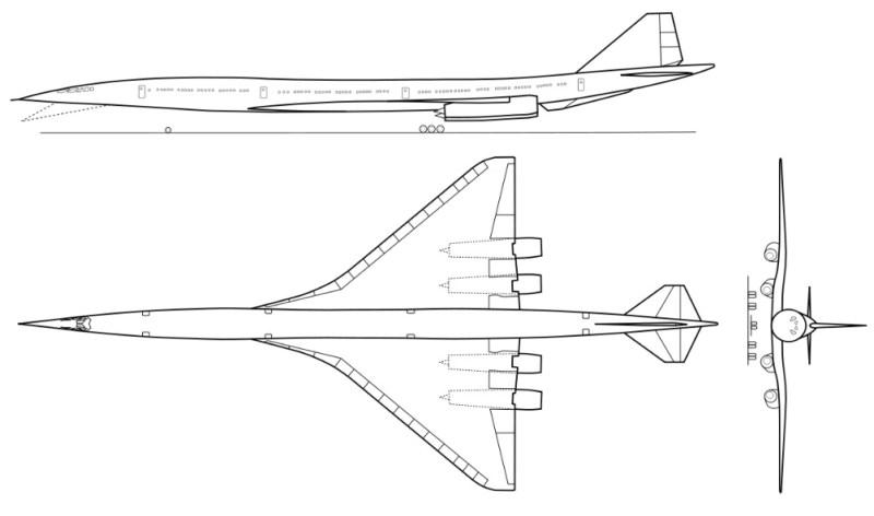 Boeing 2707 Planta três vistas