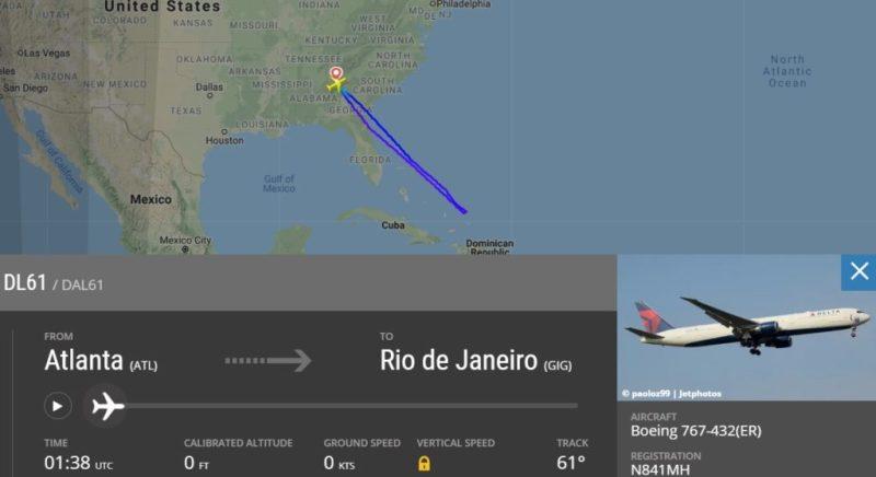 FlightRadar24 Delta 767 DL61 Rio de Janeiro