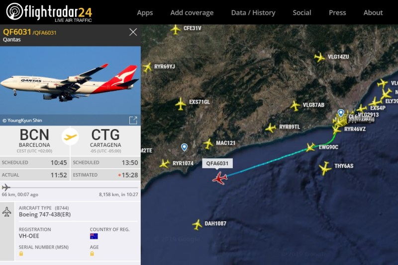Qantas 747 Volta ao mundo Constellation Journeys Radar