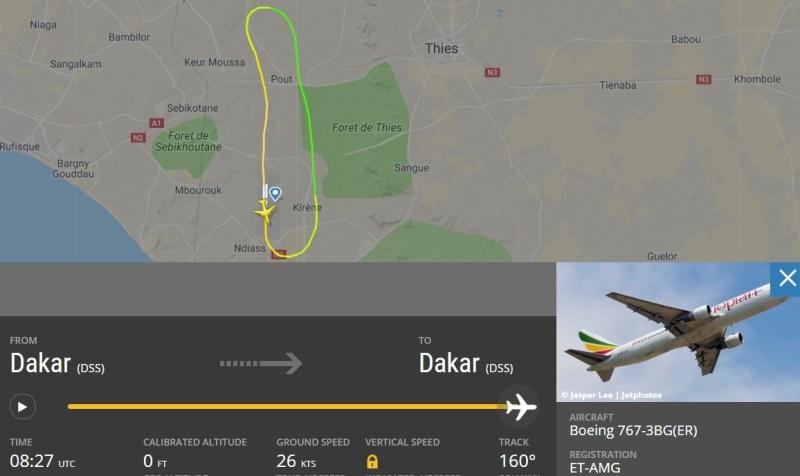 Radar Falha Motor 767 Ethiopian Dakar